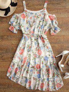Floral Print Ruffles Belted High Low Dress - Floral M