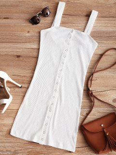 Snap Button Ribbed Mini Dress - White S