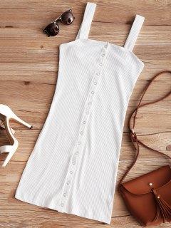 Snap Button Ribbed Mini Dress - White S