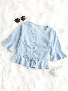 V Neck Gathered Ruffle Top - Light Blue S