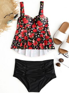 Floral Underwire High Waisted Tankini Set - Black L