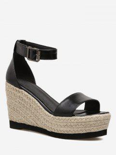 Ankle Strap Wedge Heel Sandals - Black 37