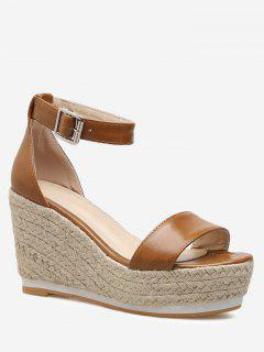 Ankle Strap Wedge Heel Sandals - Brown 40
