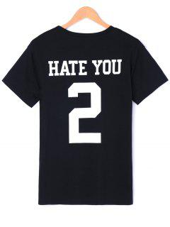 Number With Letter Graphic T-shirt - Black M