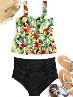 Lily Print Ruched Underwire Tankini Set - Black M