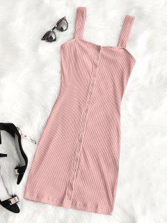 Snap Button Ribbed Mini Dress - Pink M