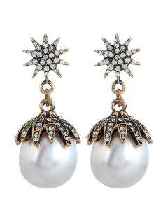 Diamante Sun Pattern Faux Pearl Stud Drop Earrings - White