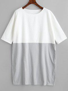 Round Collar Oversized Contrast Dress - White Xl