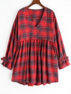 Vestido A Cuadros De Gran Tamaño Con Cuello En V - Rojo L