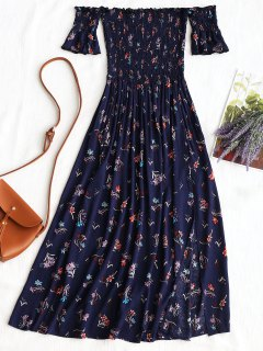 Floral Slit Smocked Off Shoulder Midi Dress - Purplish Blue M