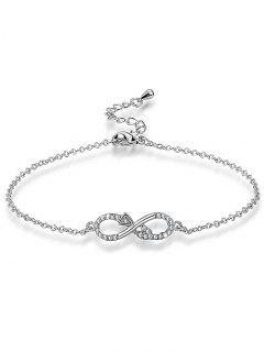 Bracelet Chaîne à Maillons Infini Rhinestoned - Argent
