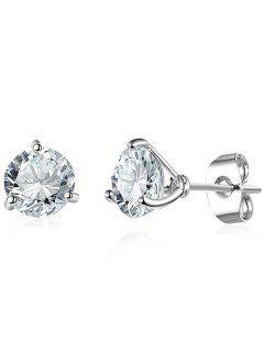 Simple Rhinestone Stud Tiny Earrings - Silver