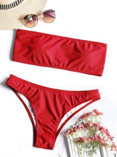 Textured Bandeau Bikini Swimwear - Red M