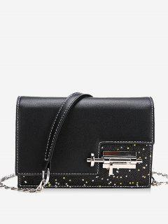 Glitter Irregular Crossbody Bag With Lock - Black