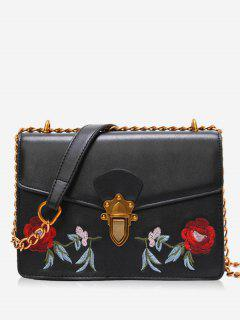 Faux Leather Flower Embroidered Crossbody Bag - Black