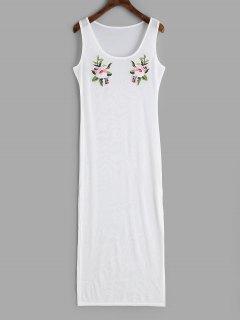 Applique Slit Sheer Cover-up Dress - White L