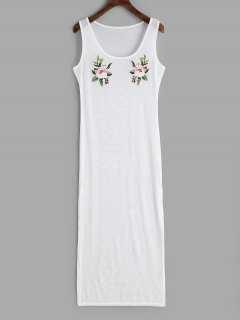 Applique Slit Sheer Cover-up Dress - White M