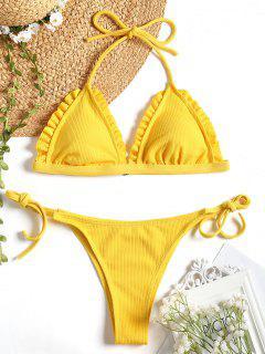 Ribbed Frayed Hem String Bikini Set - Yellow S
