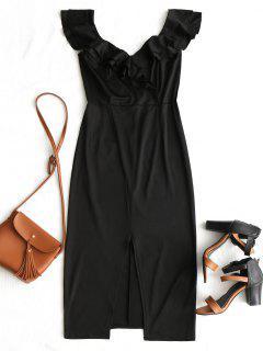 Convertible Collar Tiered Ruffles Slit Dress - Black L