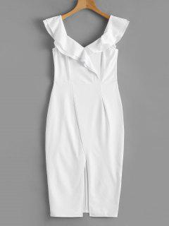 Convertible Collar Tiered Ruffles Slit Dress - White S