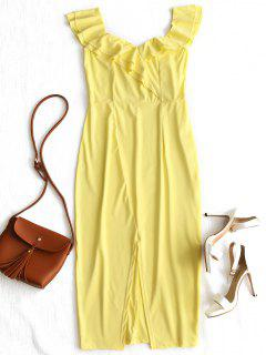 Convertible Collar Tiered Ruffles Slit Dress - Light Yellow S