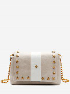 Flapped Pentagram Crossbody Bag - Apricot