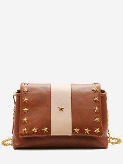 Flapped Pentagram Crossbody Bag - Brown
