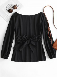 Boat Neck Self Tie Bowknot Blouse - Black M