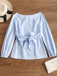 Blusa Con Lazo En El Cuello Y Corbata - Azul Claro M