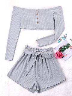 Ribbed Crop Top And Wide Leg Shorts - Gray M