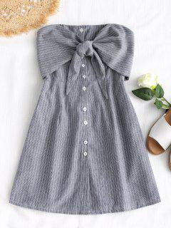 Bowknot Stripes Tube Mini Dress - Gray S