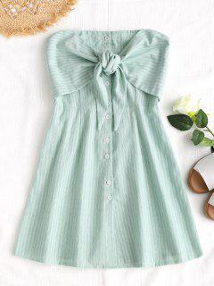 Bowknot Stripes Tube Mini Dress - Light Green L