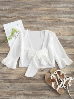 Tied Bowknot Plunging Neck Crop Blouse - White S