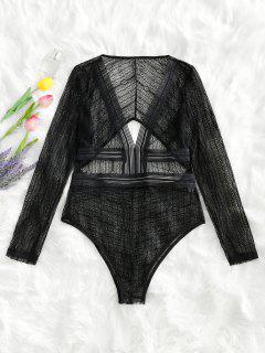 Cut Out Plunge Sheer Lace Bodysuit - Black L