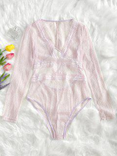 Cut Out Plunge Sheer Lace Bodysuit - Shallow Pink Xl