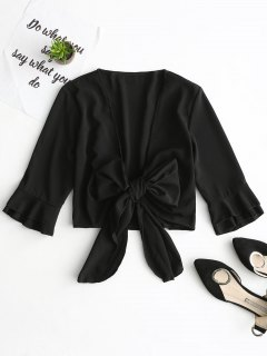 Tied Bowknot Plunging Neck Crop Blouse - Black L