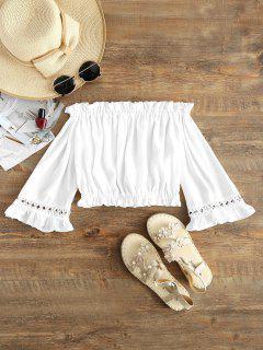 Blouse Crochet Volantée à épaules Dénudées  - Blanc L