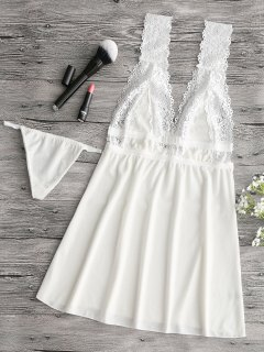 Samt-Nachthemd Mit Spitzeneinsatz - Weiß