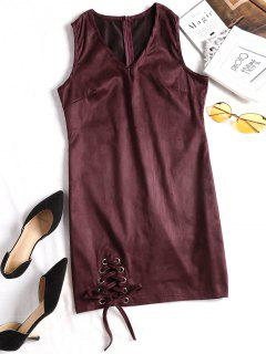 Faux Suede Lace Up Mini Dress - Wine Red M