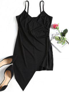Overlap Draped Asymmetrical Bodycon Dress - Black S