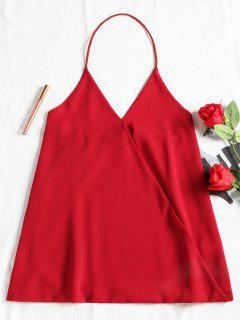 Sleevelss Overlap Open Back Top - Red L