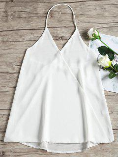 Sleevelss Overlap Open Back Top - White S