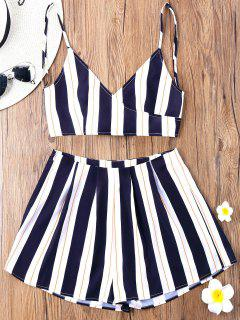Striped Camisole With Wide Leg Shorts - Blue Stripe M