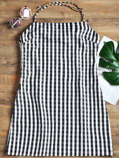 Open Back Plaid Mini Dress - Checked S