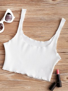 Piped Ribbed Cropped Tank Top - White