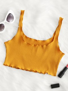 Piped Ribbed Cropped Tank Top - Ginger