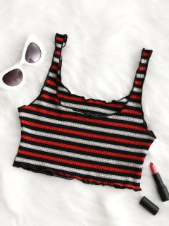 Piped Ribbed Cropped Tank Top - Black&red