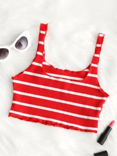 Piped Ribbed Cropped Tank Top - Red And White