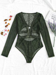 Cut Out Plunge Sheer Lace Bodysuit - Army Green Xl