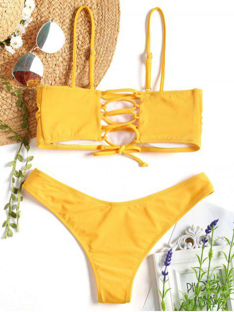 unique Cami Padded Back Lace Up Bikini - MUSTARD S Mobile